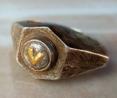 ANCIENT ROMAN Legionary Silver and gold Ring Legio V Alaudae two Legionary flag