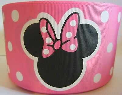 Grosgrain 3 Inch Minnie Mouse Pink Polka Dot Ribbon For Hair Bows Diy Crafts