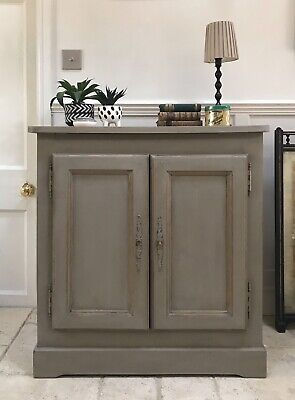 Antique French Solid Oak Painted Grey Sideboard Hall Kitchen Linen Toy Cupboard