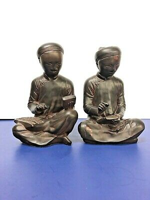 Vintage Austin Sculpture Products- Mathema Tician & Scribe Bookends 1961 Pair
