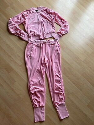 """juicy couture velour tracksuit pink With Rhinestones """"CHOOSE JUICY"""", Size M"""