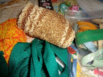 Sewing Notions HUGE LOT Vintage Trim,Lace,Ribbon,Seam Binding,Thread zippers