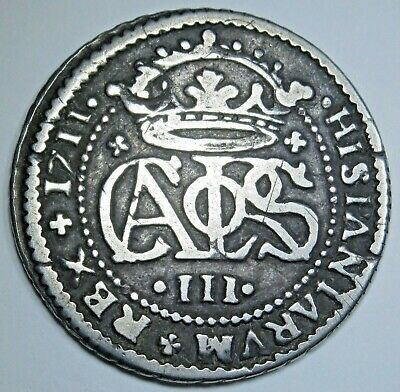 1711 Spanish Silver 2 Reales Antique 18th Century Two Bits Pirate Treasure Coin