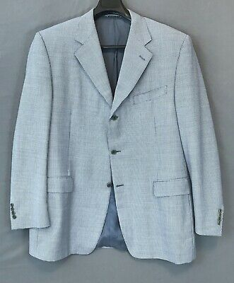 CANALI Blue Wool Houndstooth ITALY Super120s Sport Coat Jacket Blazer 58 EUR-46L