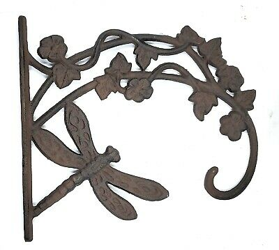 Dragonfly Hanging Plant Hook Outdoor Wall Rustic Garden Deck Decor