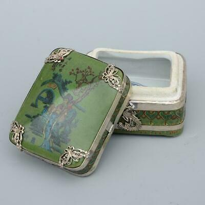 Collect Old Miao Silver Armour Porcelain Paint Shy Beauty & Scenery Jewel box