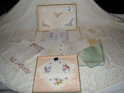 Large Group of Lovely Vintage Fabric Hankerchiefs/Hankies