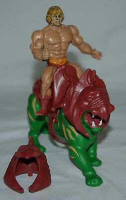 Vintage MOTU Lot Cat Figure Saddle Helmet Mattel 1982