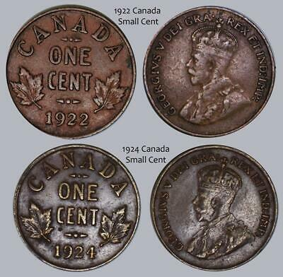 2 Pc Lot Canada Small Cents 1922 VG & 1924 Fine