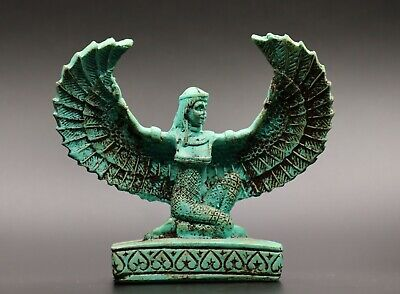 RARE EGYPT EGYPTIAN ANTIQUES ISIS WINGED Goddess of Love STATUE Green STONE BC