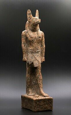 Rare Egyptian Anubis Egypt Antiques Dog Statue Carved Basalt Stone Bc