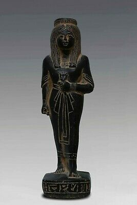 ANCIENT EGYPTIAN ANTIQUES Queen Nakhtmin EGYPT STATUE GODDESS Black Stone BC