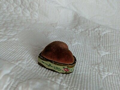 Vintage Emery Filled Pincushion Heart in Porcelain