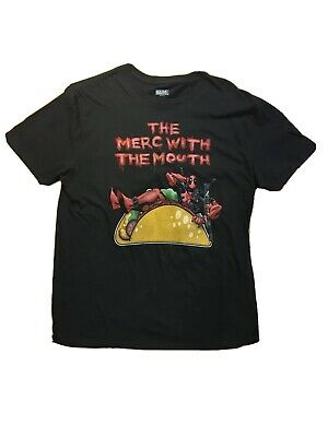 Marvel The Merc With The Mouth Deadpool Men's Large T-Shirt Black