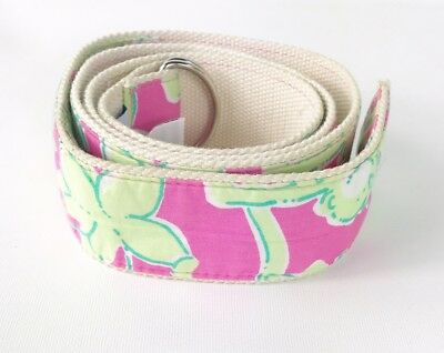 Lilly Pulitzer Belt Womens Medium Fabric Pink Green Cotton Floral Silver Tone