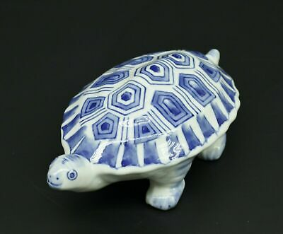 "Vintage Chinese Blue & White Porcelain Turtle Figurine 8"" Figure Statue Marked"