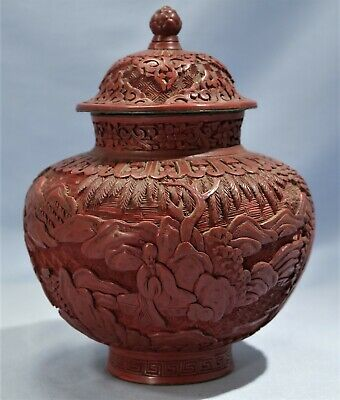 Qing Dynasty Chinese Red Cinnabar Covered Urn late 19th/early 20th Century