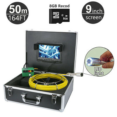 "50M (164FT) Sewer Snake Camera Pipe Pipeline Drain Inspection Kits 9"" LCD DVR+8G"