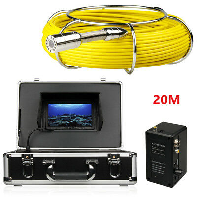 "20M Pipe Pipeline Drain Inspection System 7""LCD DVR 1200TVL Camera 12 LED Light"