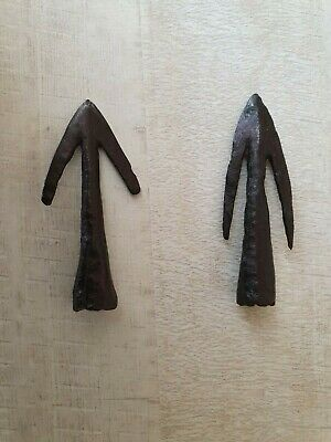 ANCIENT RARE Authentic Viking Iron Arrowheads ca 10 - 12 century AD 2 pieces