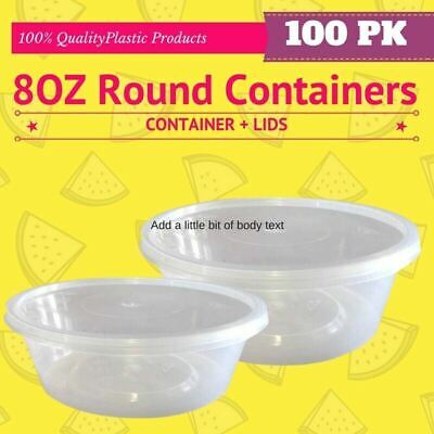 8oz (250ml) Take Away Food Plastic Sauce  Disposable 50 Containers + 50 Lids