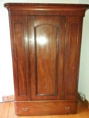 Victorian Mahogany Double Wardrobe eith  Drawer and  nice  curved   edges