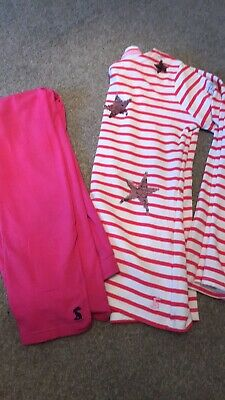 Joules Outfit 9-11years Leggings And Sequin Reverse Top Star Girls Pink