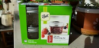 4 Pack Ball Mason Preserving Jars 135ml with recipes  Pretty jars