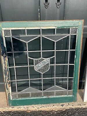 ANTIQUE STAINED/LEADED GLASS Window Crest NYC ARCHITECTURAL SALVAGE Church