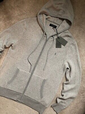 ALL SAINTS OSSAGE SOFT TOUCH WASHED COTTON LIGHT GREY HOODIE SWEATSHIRT HOODY