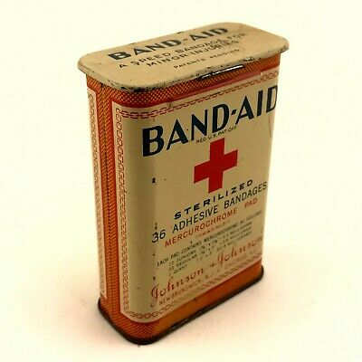 Vintage Johnson + Johnson Band-Aid Bandage Tin Box Red Cross