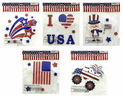 30+ Patriotic Flag USA Memorial Day Window Gel Sticker Cling Election Decoration