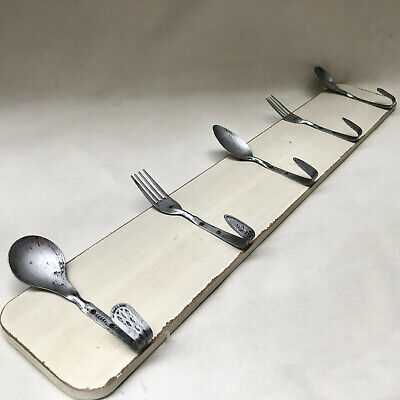 Vintage French Novelty Spoon & Fork Rack For Tea Towels Or Kitchen Drying Cloths