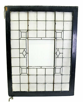 Antique American Leaded Stained Glass Window Architectural Salvage Black Frame