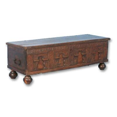 Carved 18th Century Antique Oak Coffer from Denmark, dated 1757