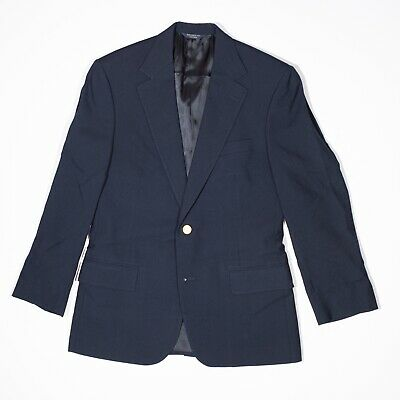Brooks Brothers Men's Solid Wool Navy Blue Two Button Blazer Jacket Coat 38R