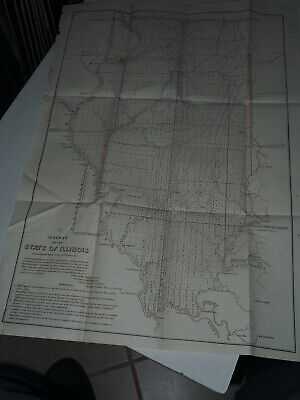 """Antique Map """"G.  Diagram of the State of Illinois"""" 1852"""