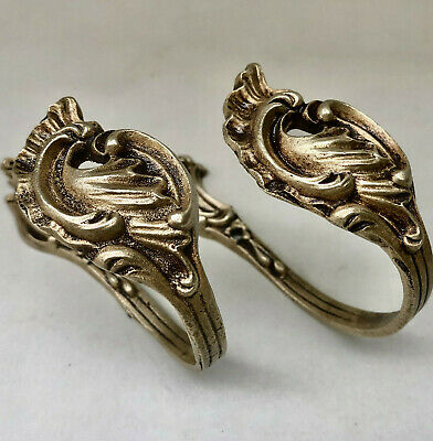 Vintage French Pair Of Ornate Gold Colour Brass Metal Curtain Tie Back Holders