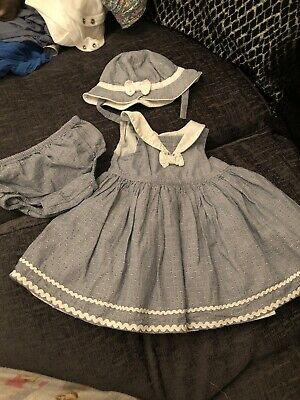 Mothercare Baby Girl Dress, Knickers And Matching Bonnet 1-3 Months