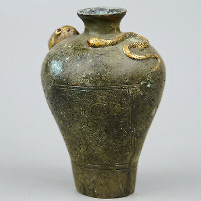 Collectable China Old Bronze & Gilding Hand-Carved Snake & Mice Delicate Bottle