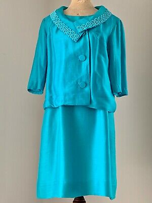Vintage Evelyn Leigh Melbourne blue silk dress and jacket XW