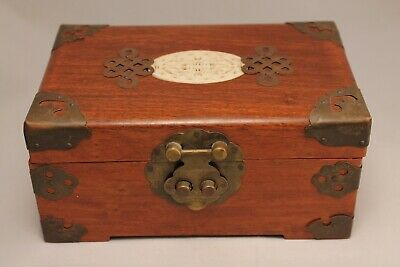 Chinese Carved Inlay Jewelry Ring Wood Box with brass mounts