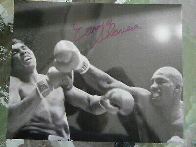 Earnie Shavers punching Ali hand signed 8 x 10 photo