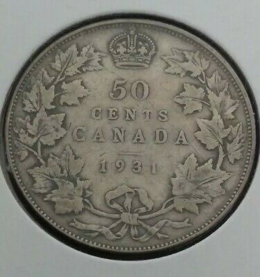 Canada 50 cents silver coin 1931, King George V