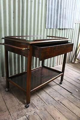Art Deco Auto Trolley with Drawer & Glass Top - Drinks Tea Trolley