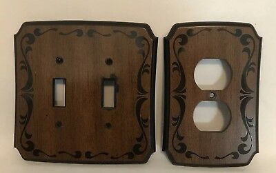 Double Light Switch Plate & Outlet Cover American Tack & Howe 1979 Faux Wood Vtg