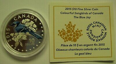 2015 Proof $10 Colourful Songbirds #3-Blue Jay COIN&COA ONLY Canada .9999 silver