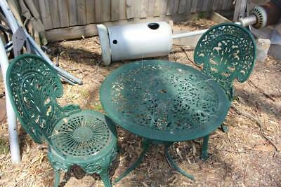 A Vintage 3 Piece Victorian Style Cast Metal Outdoor Setting