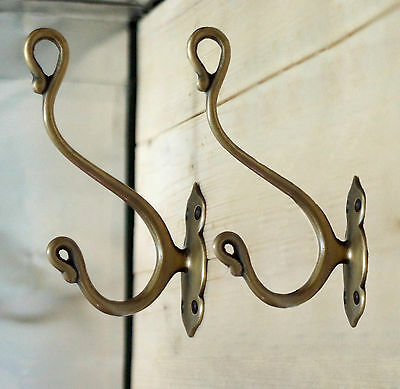 SET OF 2 PCS Antique Vtg SOLID BRASS HOOK CLASSIC Strong Wall Mount Unused