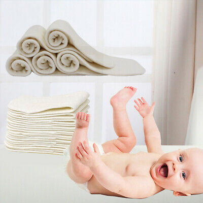 1x Bamboo Fiber Cloth Baby Diapers Inserts Liners 4 Layers Reusable Infant Nappy